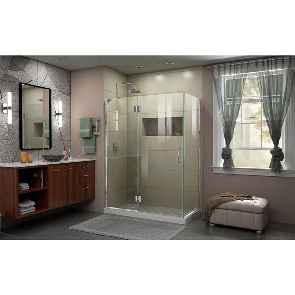 DreamLine Unidoor-X Shower Enclosure - 3 Glass Panels - 47.38-in x 30-in x 72-in - Chrome