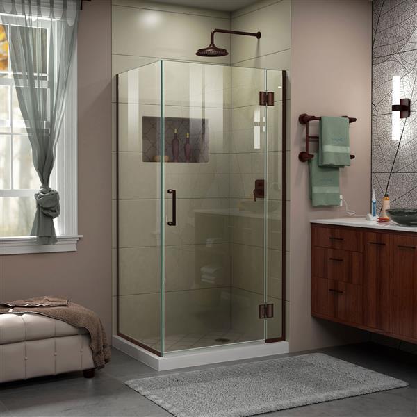 Cabine de douche en verre Unidoor-X DreamLine, 3 panneaux, 36,38 po x 30 po x 72 po, bronze huilé