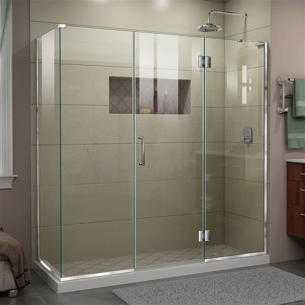 DreamLine Unidoor-X Shower Enclosure - 4 Glass Panels - 69.5-in x 30.38-in x 72-in - Chrome