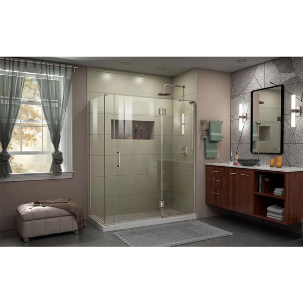 DreamLine Unidoor-X Shower Enclosure - 4 Glass Panels - 59-in x 72-in - Brushed Nickel