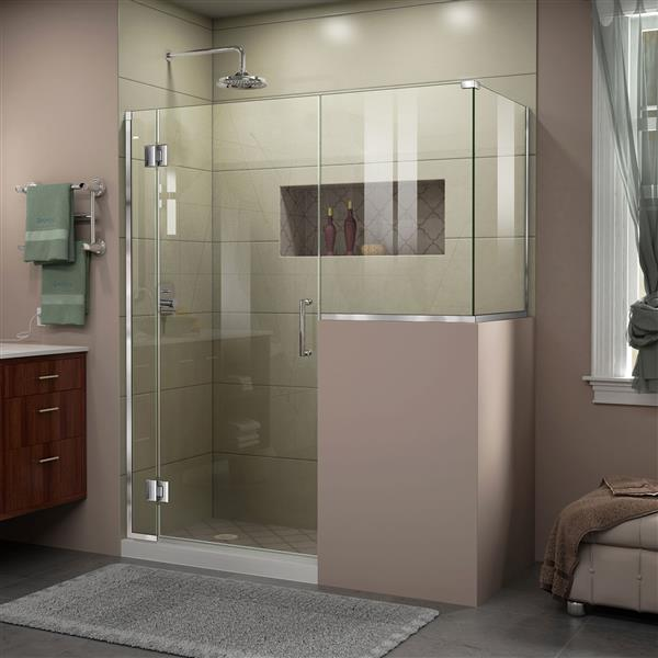 DreamLine Unidoor-X Shower Enclosure - 4 Glass Panels - 59-in x 36.38-in x 72-in - Chrome
