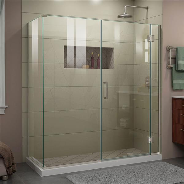 DreamLine Unidoor-X Shower Enclosure - 4 Glass Panels - 64-in x 30.38-in x 72-in - Brushed Nickel