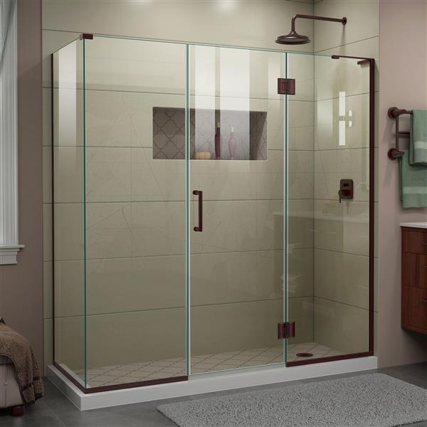 DreamLine Unidoor-X Shower Enclosure - 4 Glass Panels - 70-in x 30.38-in x 72-in - Oil Rubbed Bronze