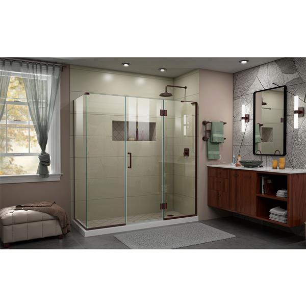 DreamLine Unidoor-X Shower Enclosure - 4 Glass Panels - 70.5-in x 30.38-in x 72-in - Oil Rubbed Bronze