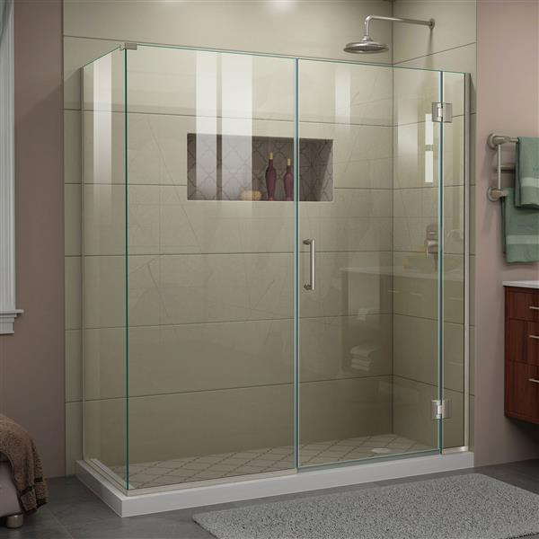 DreamLine Unidoor-X Shower Enclosure - 4 Glass Panels - 64.5-in x 30.38-in x 72-in - Brushed Nickel