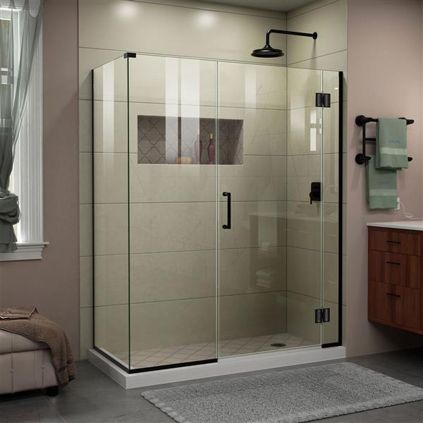 DreamLine Unidoor-X Shower Enclosure - 3 Glass Panels - 57.5-in x 30.38-in x 72-in - Satin Black