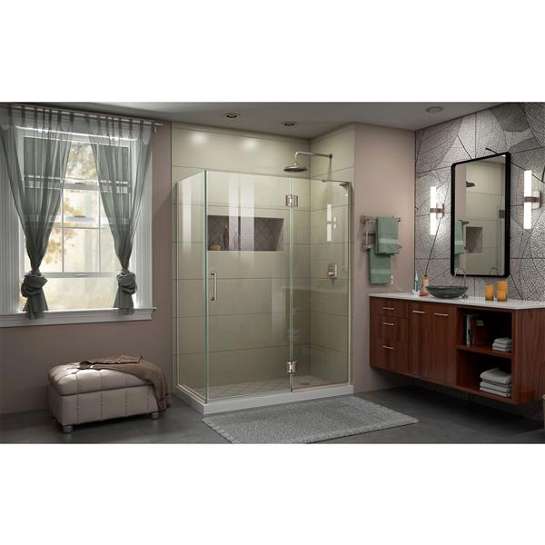 DreamLine Unidoor-X Shower Enclosure - 3 Glass Panels - 48.38-in x 30-in 72-in - Brushed Nickel