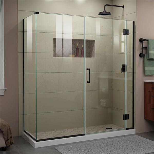 DreamLine Unidoor-X Glass Shower Enclosure - 4-Panel - 64-in x 34.38-in x 72-in - Satin Black