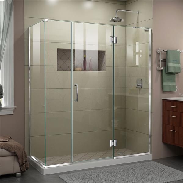 DreamLine Unidoor-X Shower Enclosure - 4 Glass Panels - 64.5-in x 72-in - Chrome