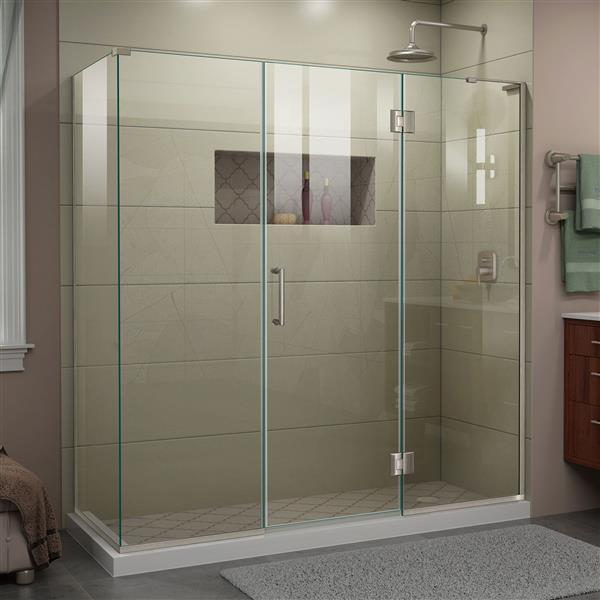 DreamLine Unidoor-X Shower Enclosure - 4 Glass Panels - 70-in x 30.38-in x 72-in - Brushed Nickel