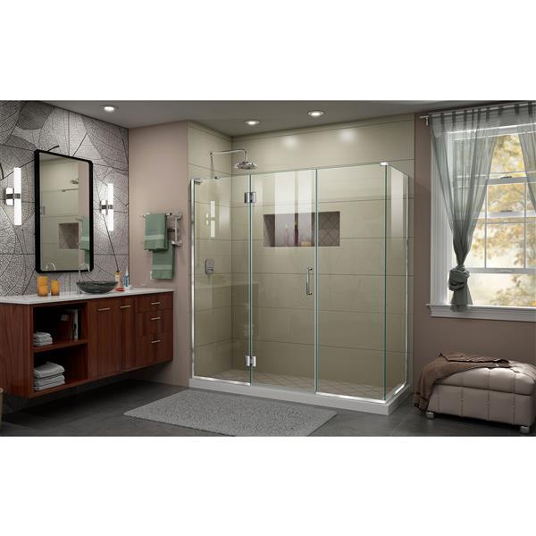 DreamLine Unidoor-X Glass Shower Enclosure - 4-Panel - 69.5-in x 30.38-in x 72-in - Chrome