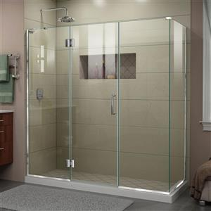 Cabine de douche en verre Unidoor-X DreamLine, 4 panneaux, 69,5 po x 30,38 po x 72 po, chrome
