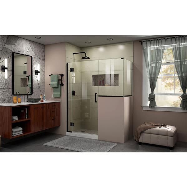 DreamLine Unidoor-X Shower Enclosure - 4 Glass Panels - 59-in x 36.38-in x 72-in - Satin Black