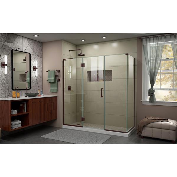 DreamLine Unidoor-X Glass Shower Enclosure - 4-Panel - 69.5-in x 30.38-in x 72-in - Oil Rubbed Bronze