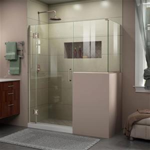 Cabine de douche en verre Unidoor-X DreamLine, 4 panneaux sans cadre, 57 po x 36,38 po x 72 po, nickel brossé