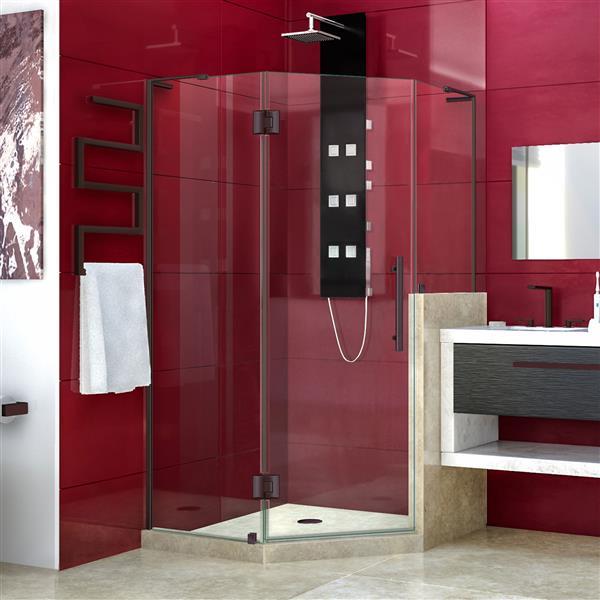 DreamLine Unidoor-X Shower Enclosure - 3 Glass Panels - 40-in x 40-in x 72-in - Oil Rubbed Bronze