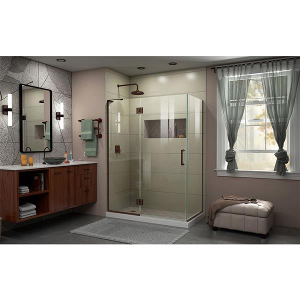 DreamLine Unidoor-X Shower Enclosure - 3 Glass Panels - 48.38-in x 30-in x 72-in - Oil Rubbed Bronze