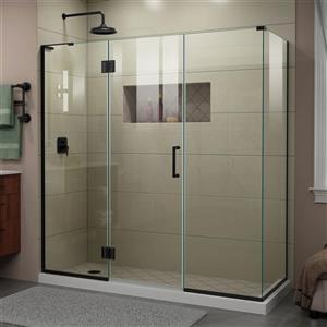 DreamLine Unidoor-X Glass Shower Enclosure - 4-Panel - 70.5-in x 34.38-in x 72-in - Satin Black
