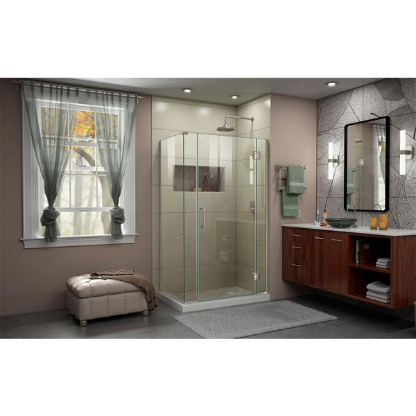 DreamLine Unidoor-X Shower Enclosure - 4 Glass Panels - 40.5-in x 34.38-in x 72-in - Brushed Nickel