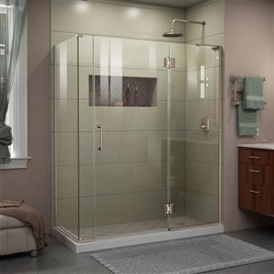 Cabine de douche en verre Unidoor-X DreamLine, 4 panneaux sans cadre, 57,5 po x 34,38 po x 72 po, nickel brossé