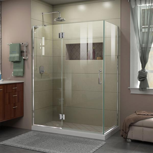 DreamLine Unidoor-X Shower Enclosure - 3 Glass Panels - 48.38-in x 30-in x 72-in - Chrome