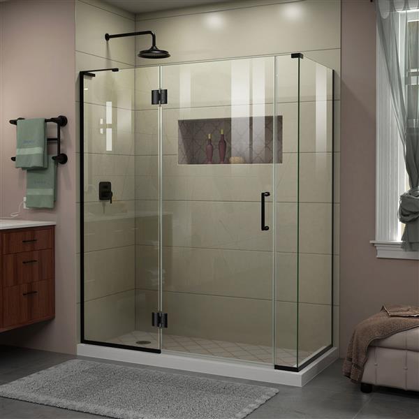 Cabine de douche en verre Unidoor-X DreamLine, 4 panneaux, 60 po x 34,38 po x 72 po, noir satiné