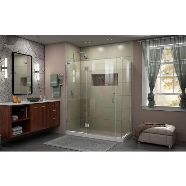 Cabine de douche en verre Unidoor-X DreamLine, 4 panneaux, 58,5 po x 34,38 po x 72 po, chrome