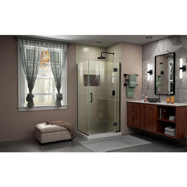 Cabine de douche en verre Unidoor-X DreamLine, 3 panneaux, 35,38 po x 30 po x 72 po, noir satiné