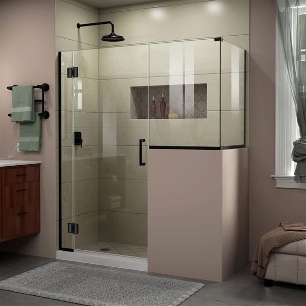 DreamLine Unidoor-X Shower Enclosure - 4-Panel - 57-in x 36.38-in x 72-in - Satin Black