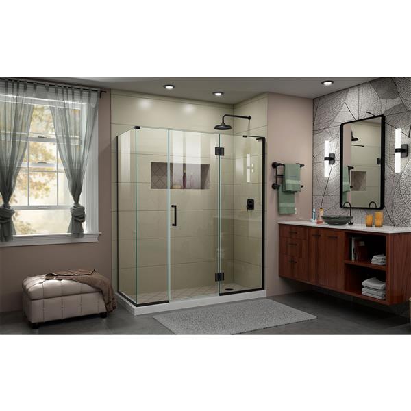 DreamLine Unidoor-X Shower Enclosure - Hinged Door - 64.5-in x 30.38-in x 72-in - Satin Black