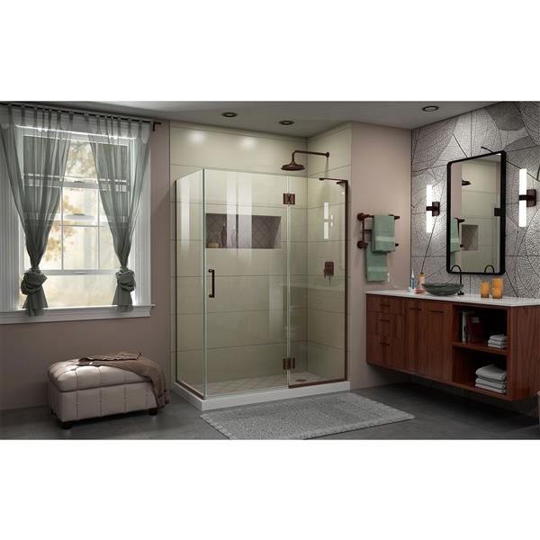 DreamLine Unidoor-X Shower Enclosure - 3-Panel - 48.38-in x 34-in x 72-in - Oil Rubbed Bronze