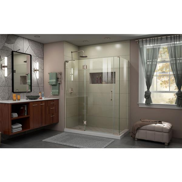 DreamLine Unidoor-X Shower Enclosure - 4 Glass Panels - 58.5-in x 34.38-in x 72-in - Brushed Nickel