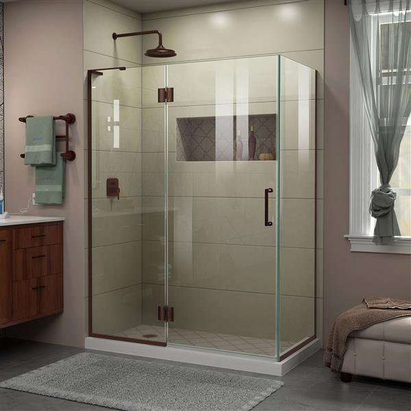 DreamLine Unidoor-X Shower Enclosure - 3 Glass Panels - 47.38-in x 34-in x 72-in - Oil Rubbed Bronze