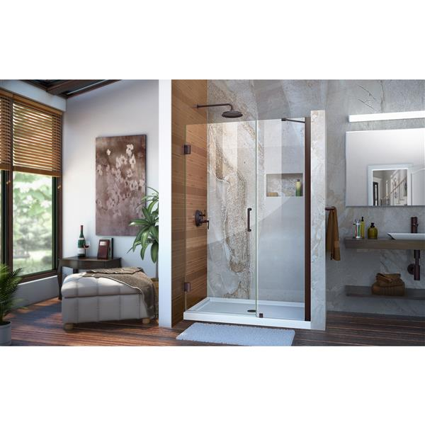 DreamLine Unidoor Shower Door - Clear Glass - 41-42-in x 72-in - Oil Rubbed Bronze