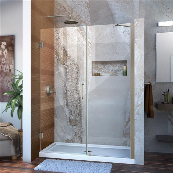 DreamLine Unidoor Shower Door - 53-54-in x 72-in - Brushed Nickel