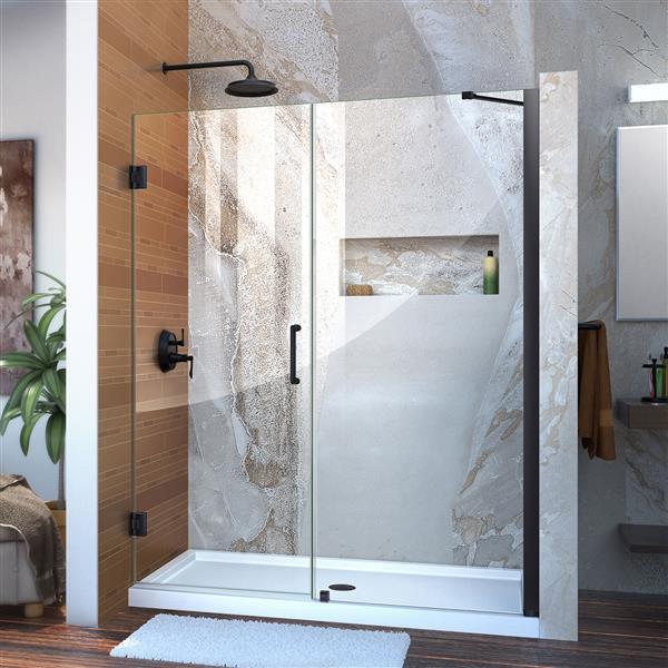 DreamLine Unidoor Alcove Shower Door - Clear Glass - 53-54-in x 72-in - Satin Black