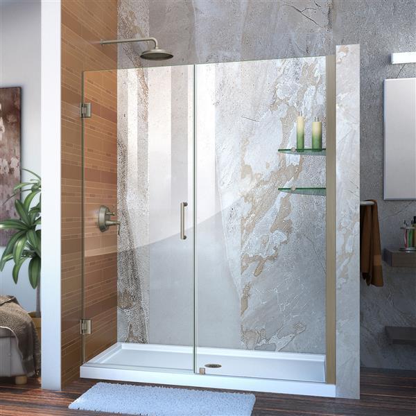 DreamLine Unidoor Shower Door - Clear Glass - 59-60-in x 72-in - Brushed Nickel