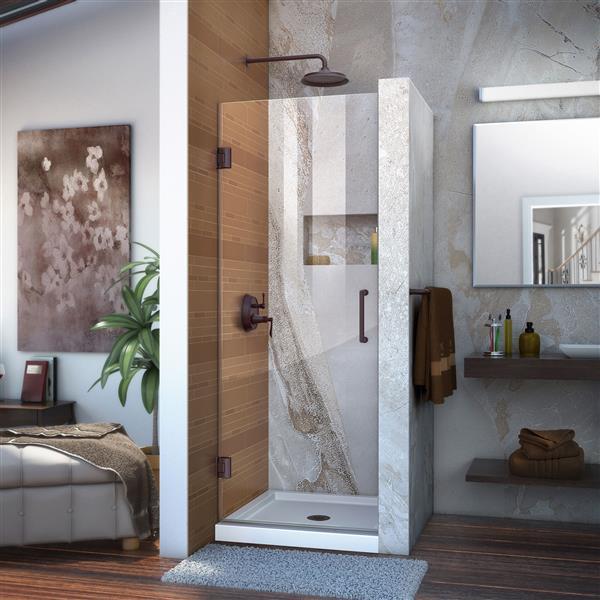 Porte de douche Unidoor de DreamLine, 27 po x 72 po, bronze huilé