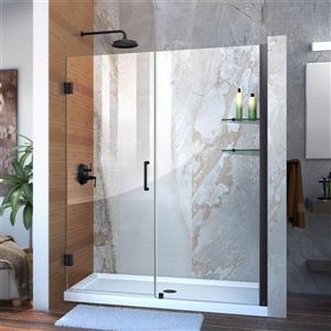 Porte de douche sans cadre Unidoor de DreamLine, 53-54 po x 72 po, noir satiné