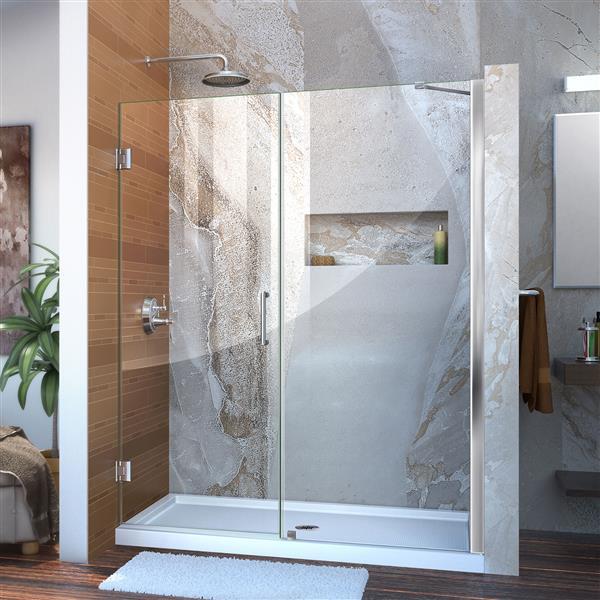 DreamLine Unidoor Alcove Shower Door - Clear Glass - 53-54-in x 72-in - Chrome