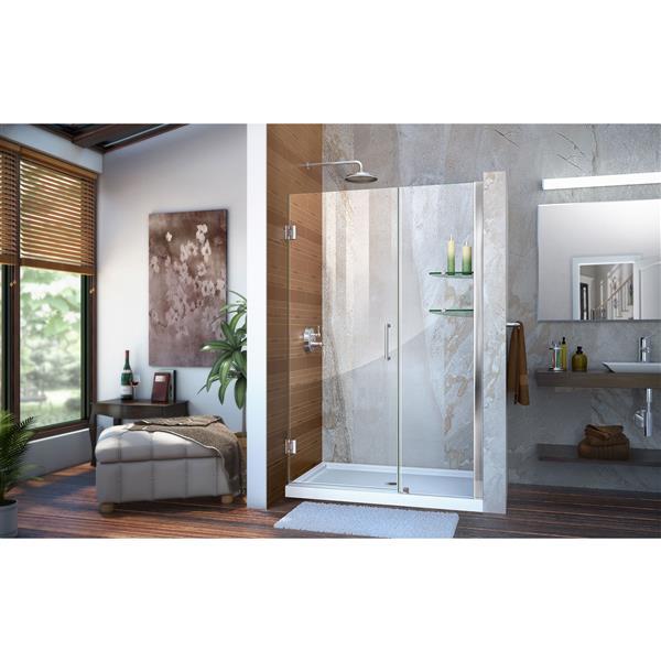 DreamLine Unidoor Shower Door - Clear Glass - 41-42-in x 72-in - Chrome