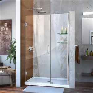 Porte de douche sans cadre Unidoor de DreamLine, 41-42 po x 72 po, chrome
