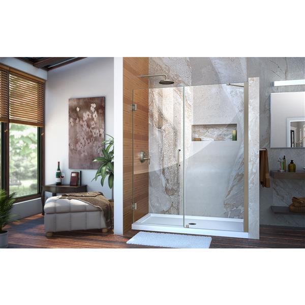 Porte de douche en verre Unidoor de DreamLine, 53-54 po x 72 po, nickel brossé