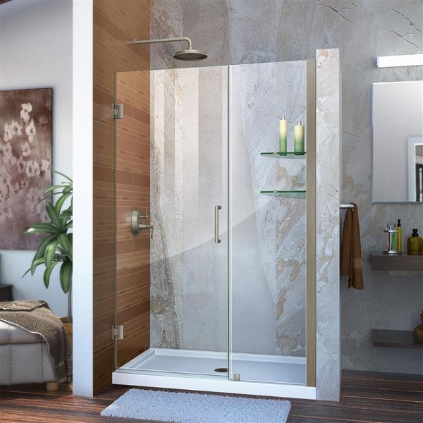 DreamLine Unidoor Shower Door - Clear Glass - 43-44-in x 72-in - Brushed Nickel
