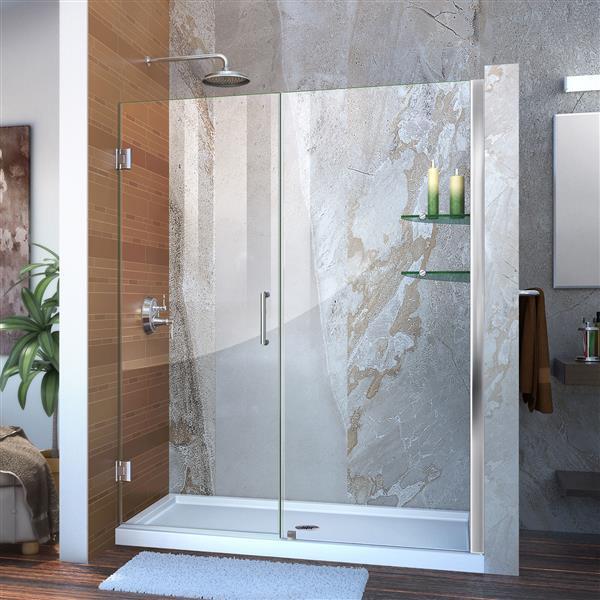 DreamLine Unidoor Shower Door - Clear Glass - 56-57-in x 72-in - Chrome