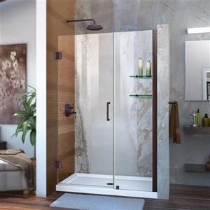 Porte de douche sans cadre Unidoor de DreamLine, 45-46 po x 72 po, bronze huilé