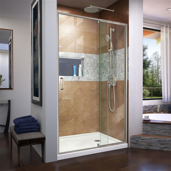 DreamLine Flex Shower Door - 44-48-in x 72-in - Brushed Nickel