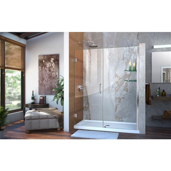 DreamLine Unidoor Alcove Shower Door - 54-55-in x 72-in - Chrome