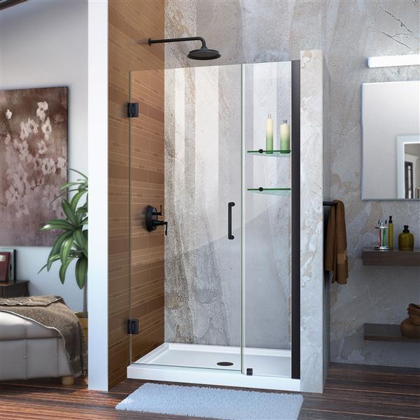 Porte de douche en alcôve Unidoor de DreamLine, 35-36 po x 72 po, noir satiné