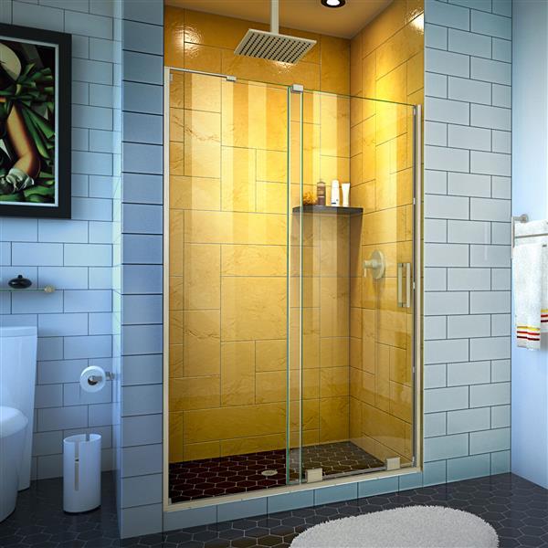DreamLine Mirage-Z Shower Door - 44-48-in x 72-in - Brushed Nickel